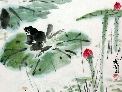 4344,蛙声轻落荷叶尖(原创) - 春风化雨 - 春风化雨的博客
